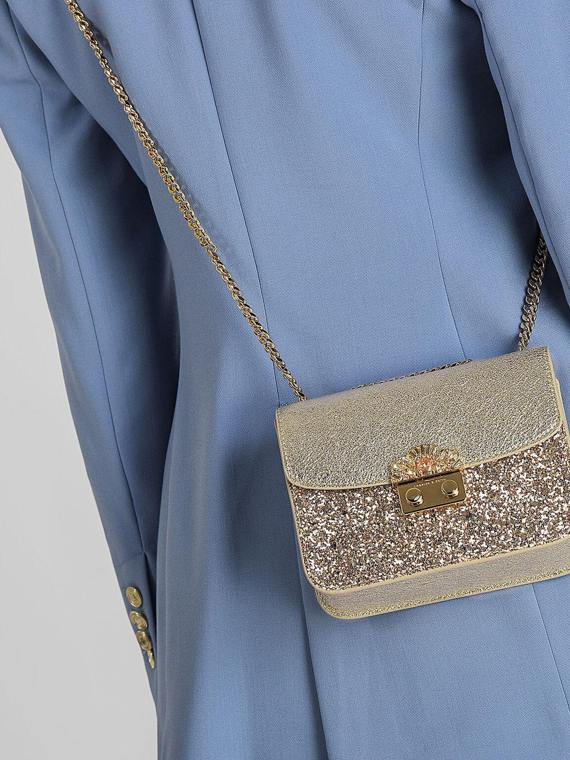 Embellished Buckle Crossbody Bag, Gold, hi-res