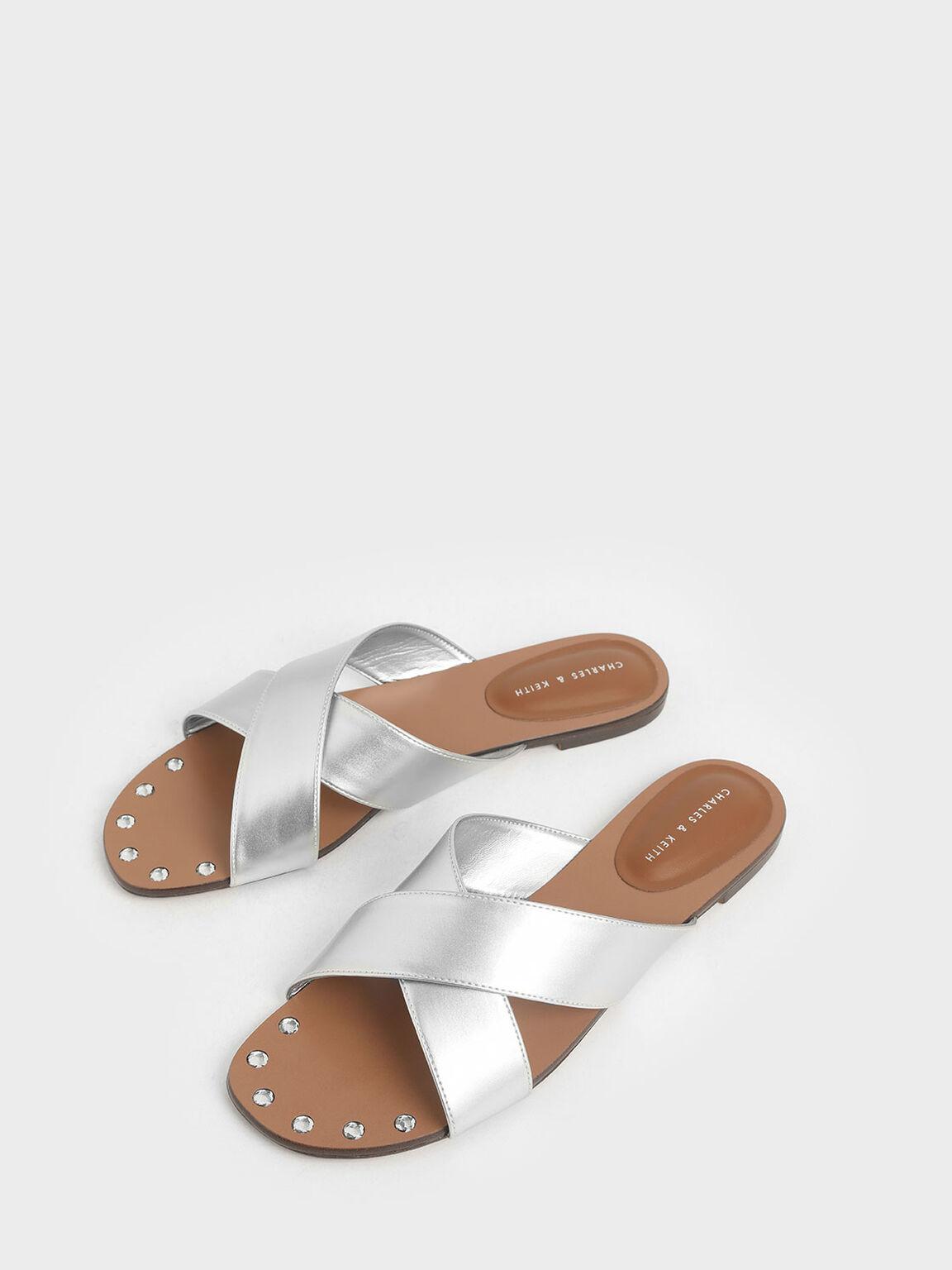 Metallic Embellished-Sole Slide Sandals, Silver, hi-res