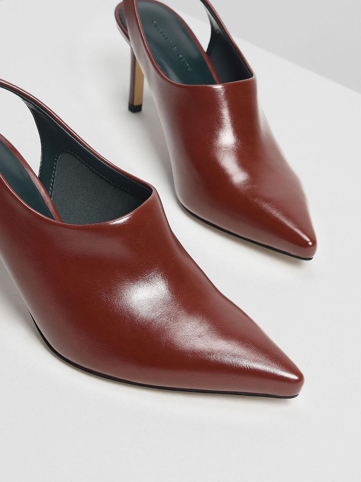 Slingback Pointed Heels, Red, hi-res