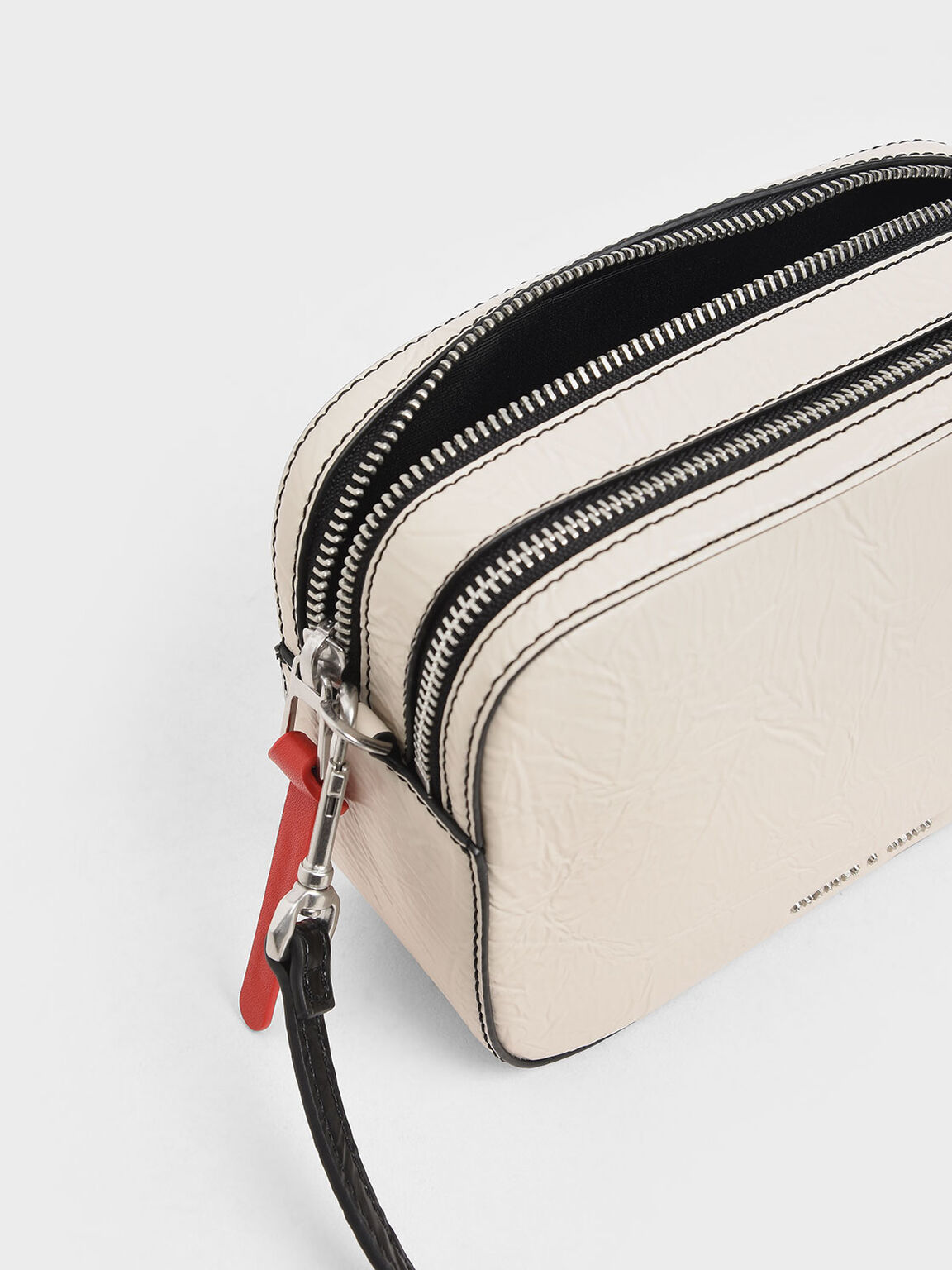 Wrinkled Effect Rectangle Crossbody Bag, Cream, hi-res