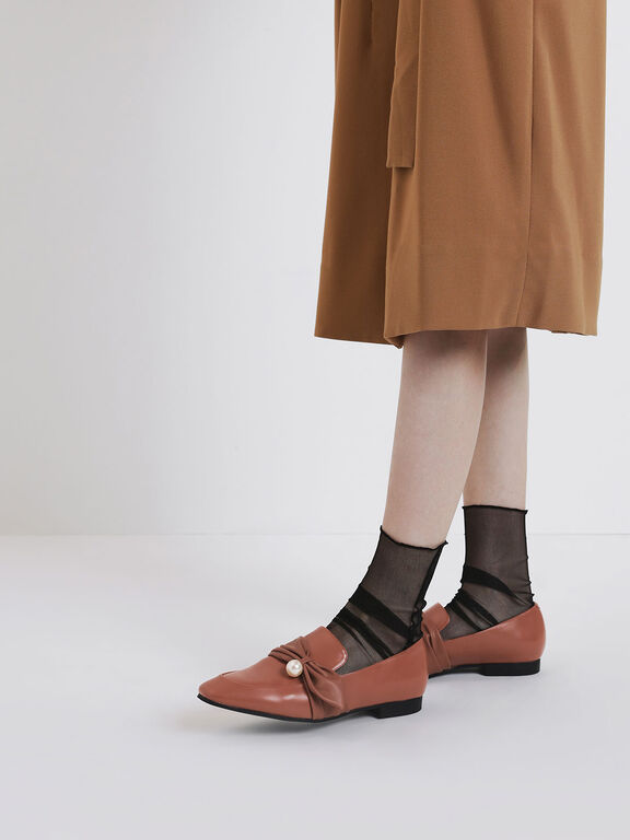Embellished Ruched Detail Loafers, Brick