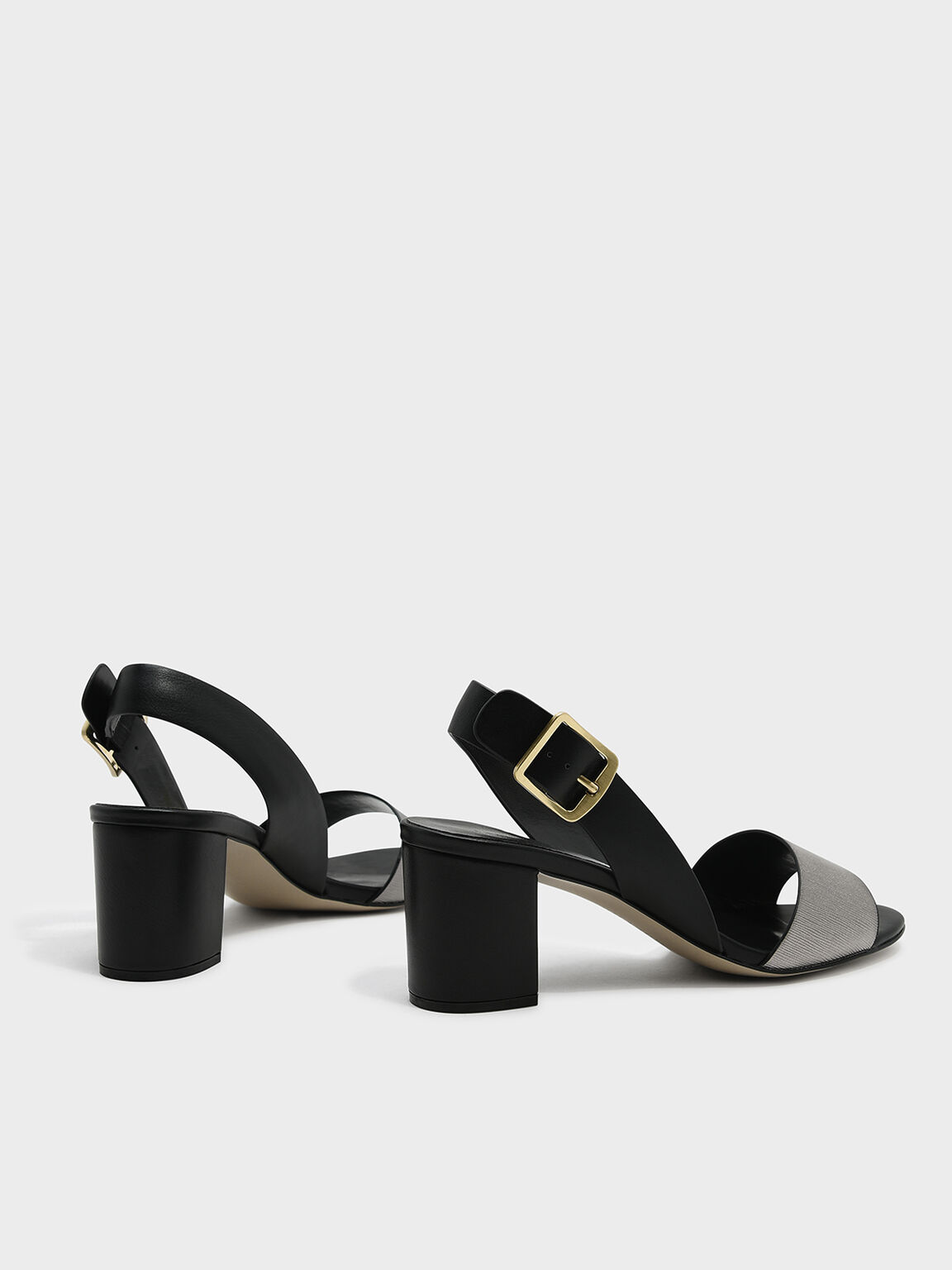 Sling Back Heels, Black, hi-res