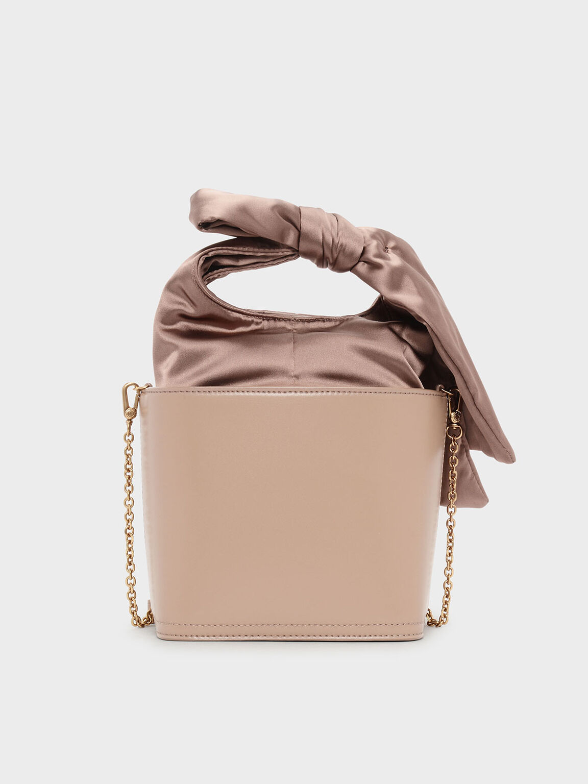 Bow Detail Handle Bucket Bag, Nude, hi-res