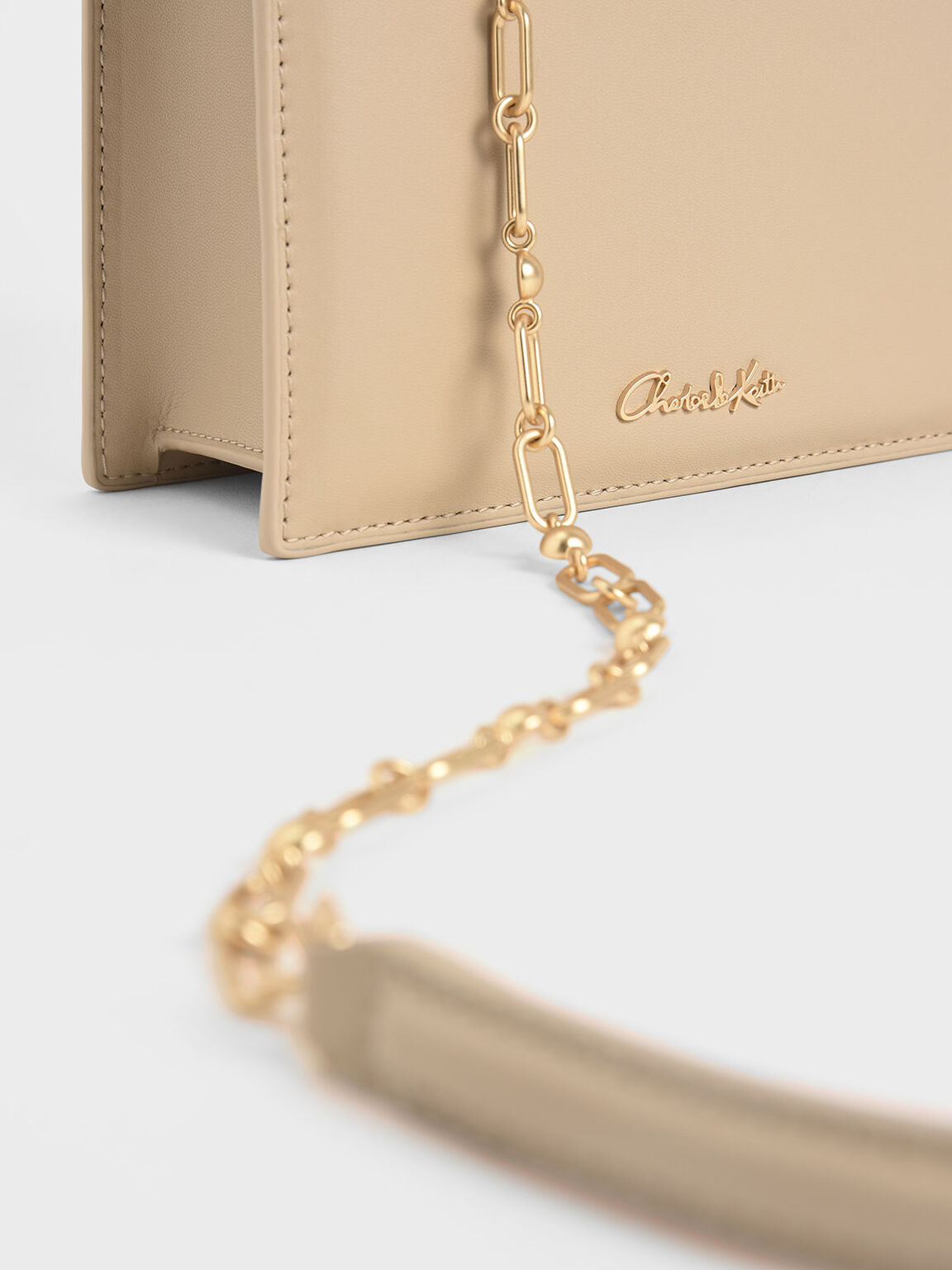 Leather Chain Strap Crossbody Bag, Beige, hi-res