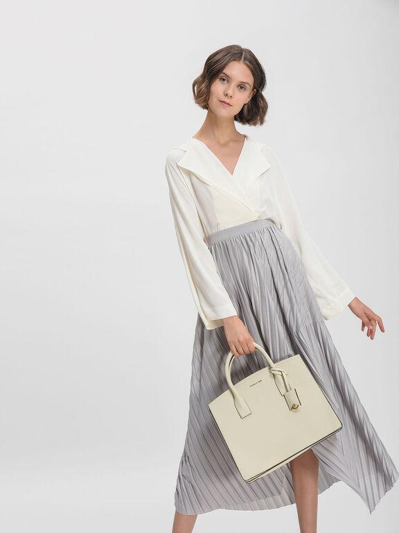 Structured Tote Bag, Cream