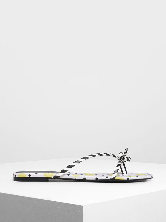 Strappy Bow Printed Thong Sandals, Multi, hi-res