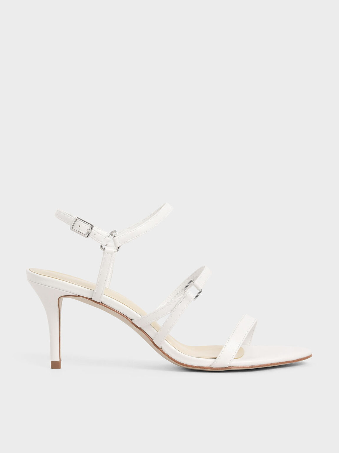 Triple Strap Stiletto Heels, White, hi-res