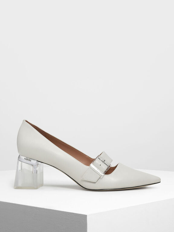 Lucite Heel Mary Janes, Chalk, hi-res