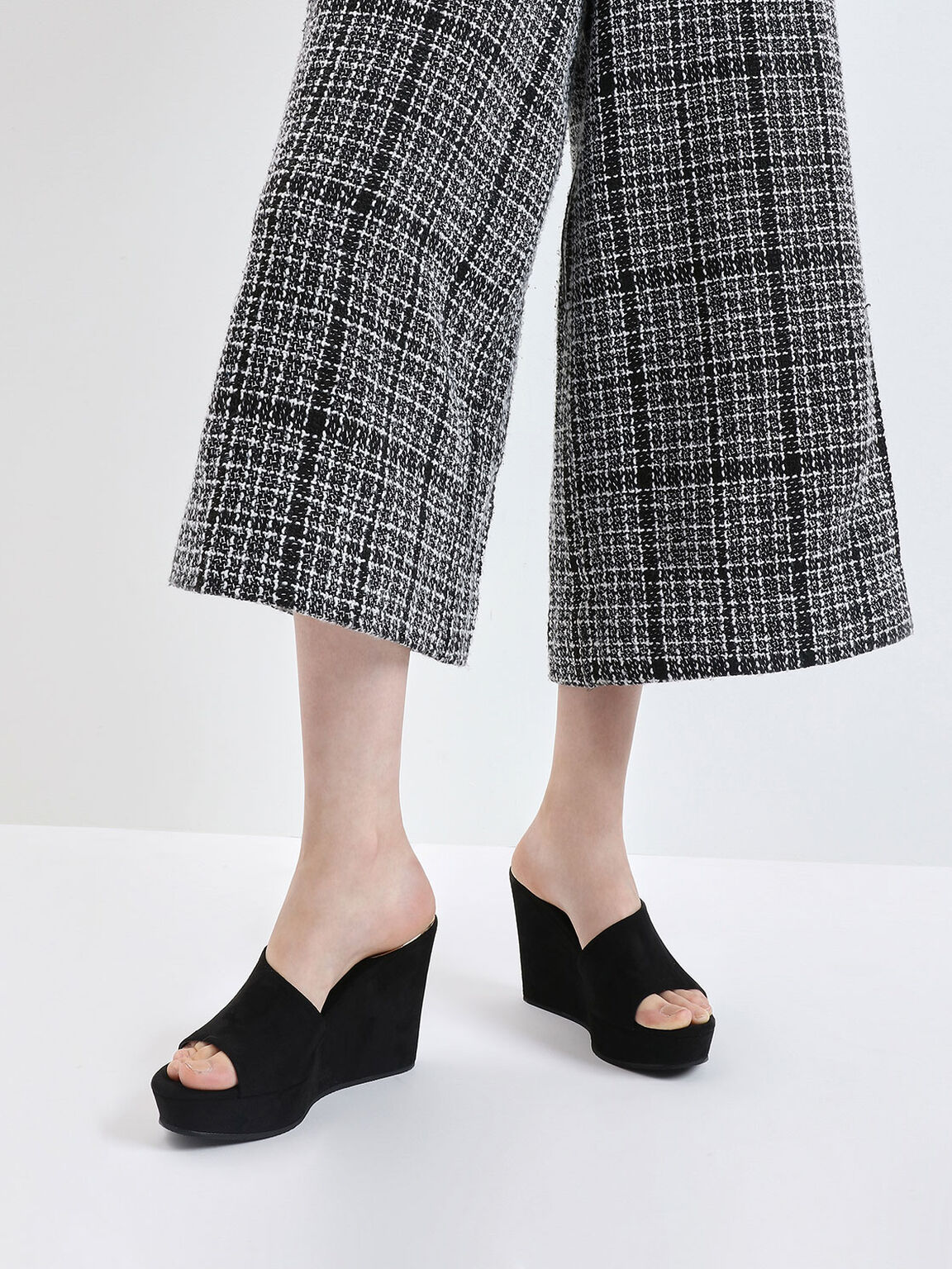 Asymmetric Textured Platform Wedges, Black, hi-res