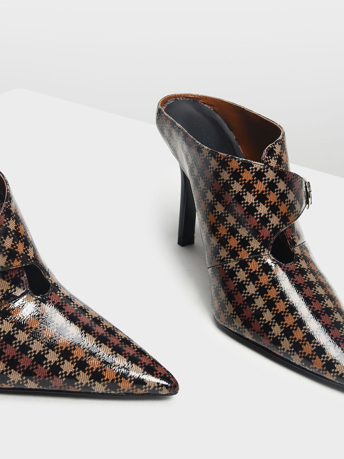 Houndstooth Print Stiletto Heel Mules, Brown, hi-res