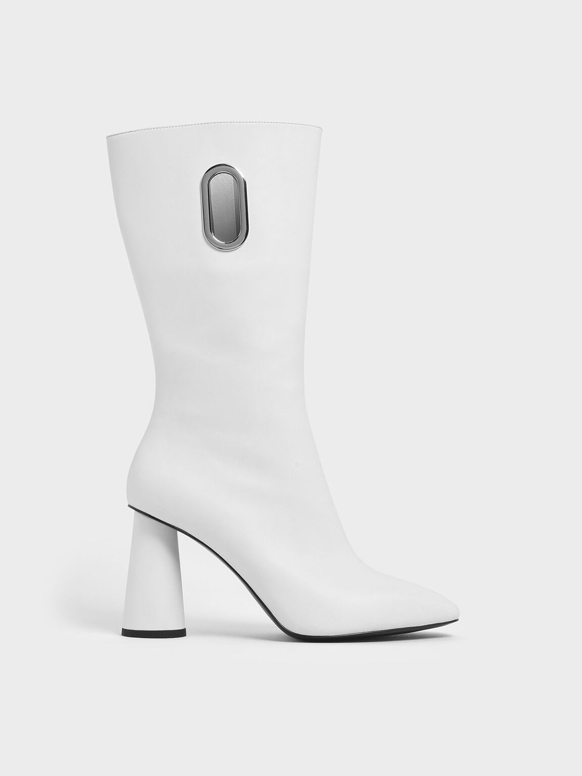 Eyelet Detail Cylindrical Heel Calf Boots, White, hi-res