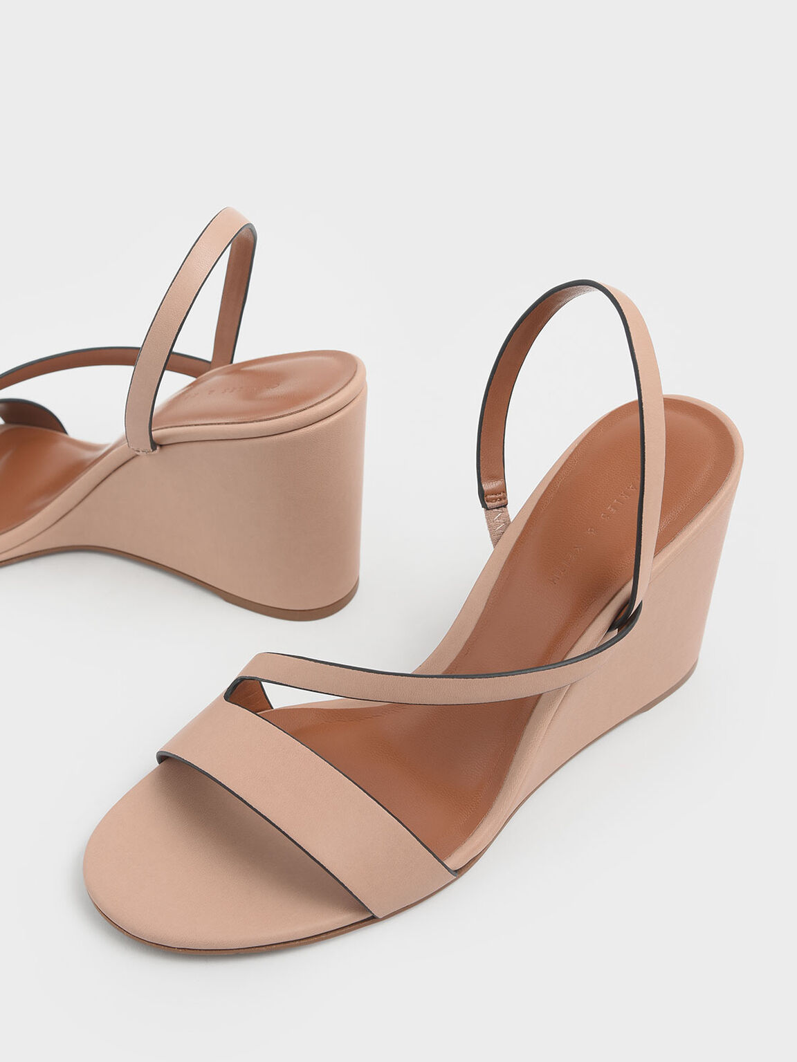 Asymmetric Strap Slingback Wedges, Nude, hi-res