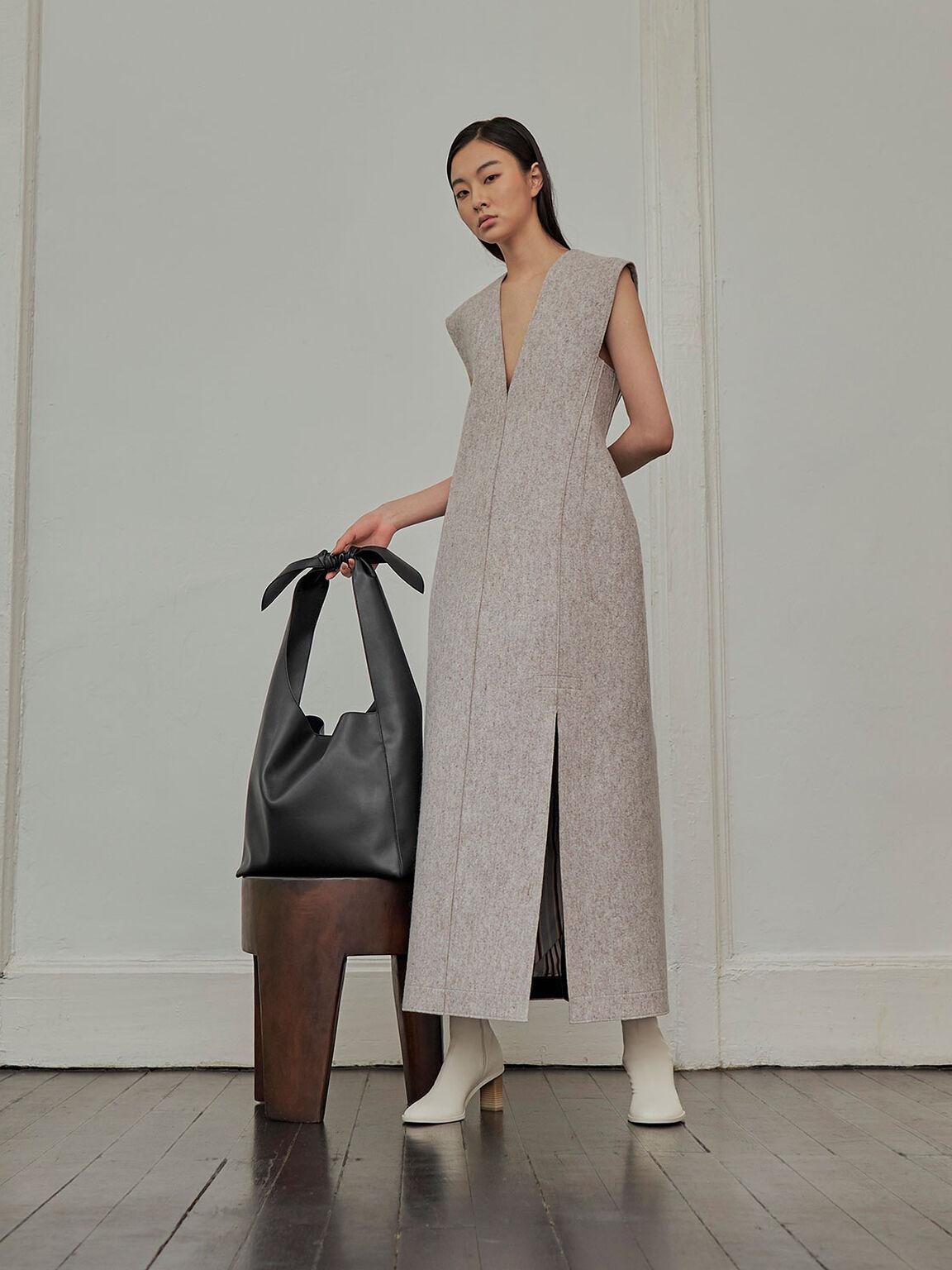 Knotted Handle Hobo Bag, Black, hi-res