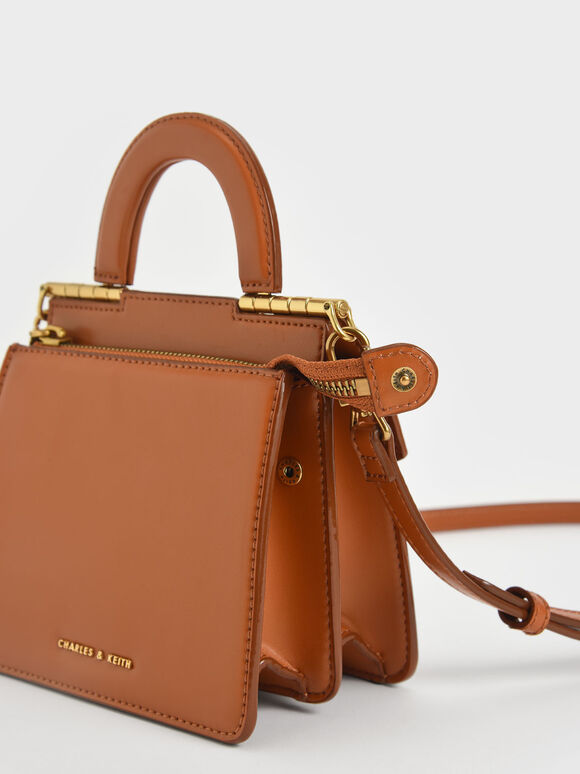 Top Handle Envelope Bag, Cognac, hi-res