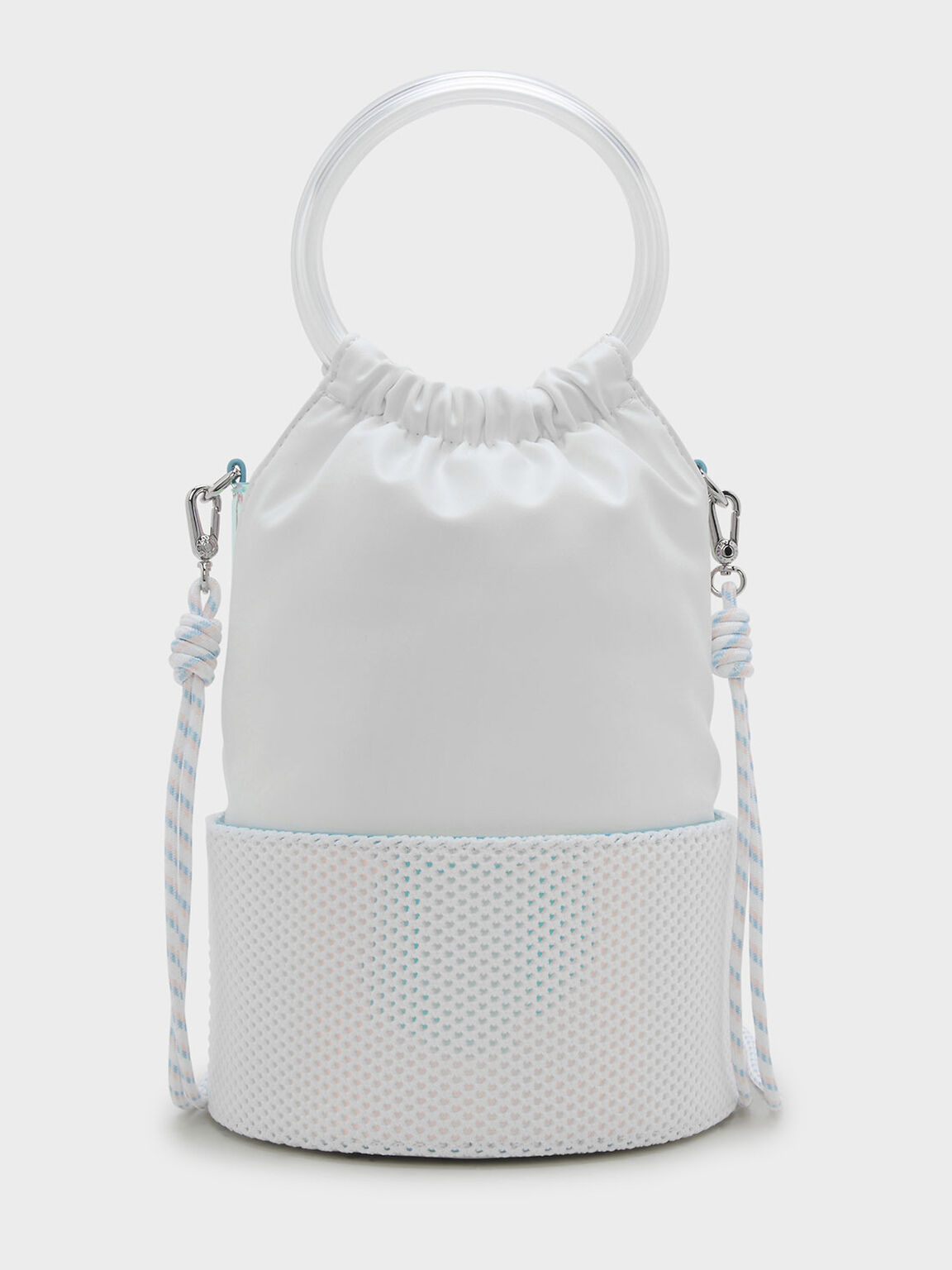 Circular Mesh Detail Sling Bag, White, hi-res