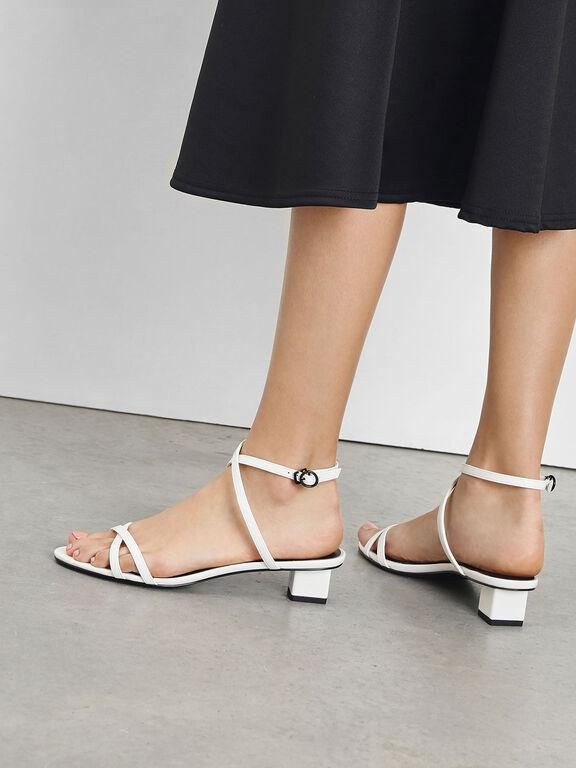 Criss Cross Low Heel Sandals, White, hi-res