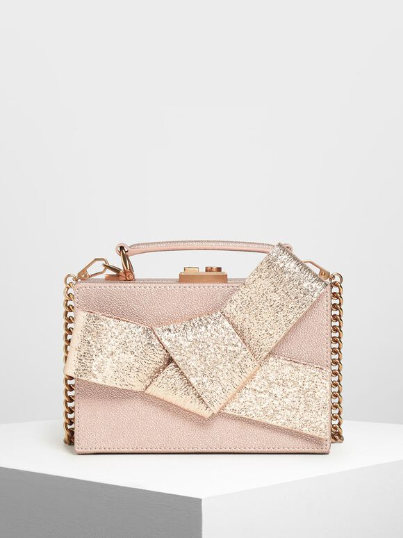 Metallic Ribbon Top Handle Bag, Rose Gold, hi-res