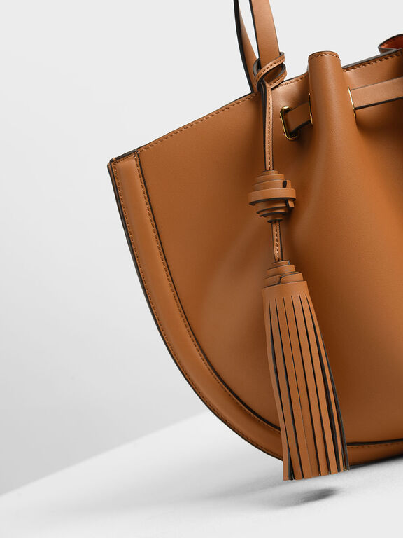 Tassel Tote Bag, Tan
