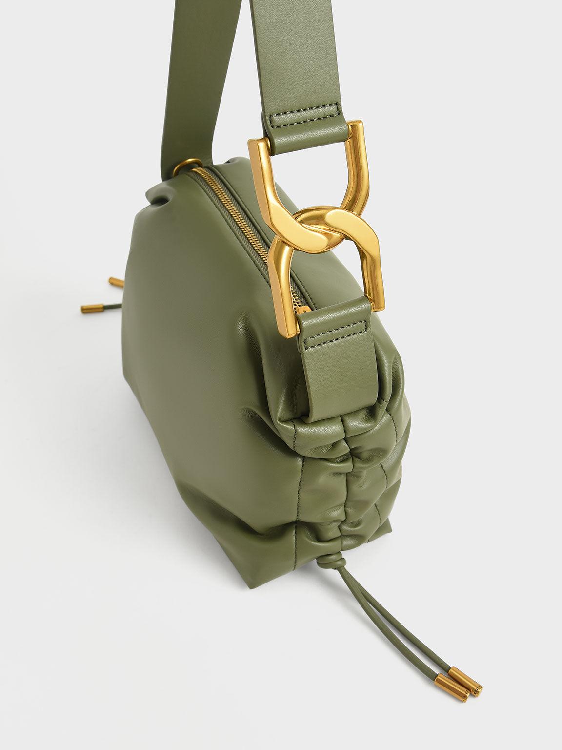 Ruched Hobo Bag, Olive, hi-res
