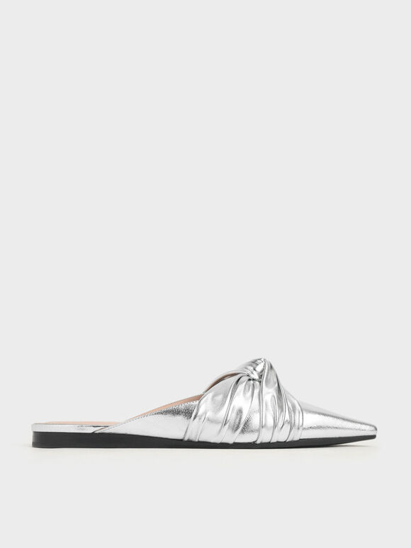 Metallic Ruched Knot Mules, Silver, hi-res
