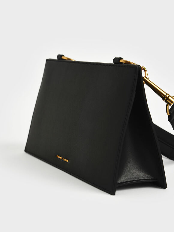 Ring Detail Shoulder Bag, Black, hi-res