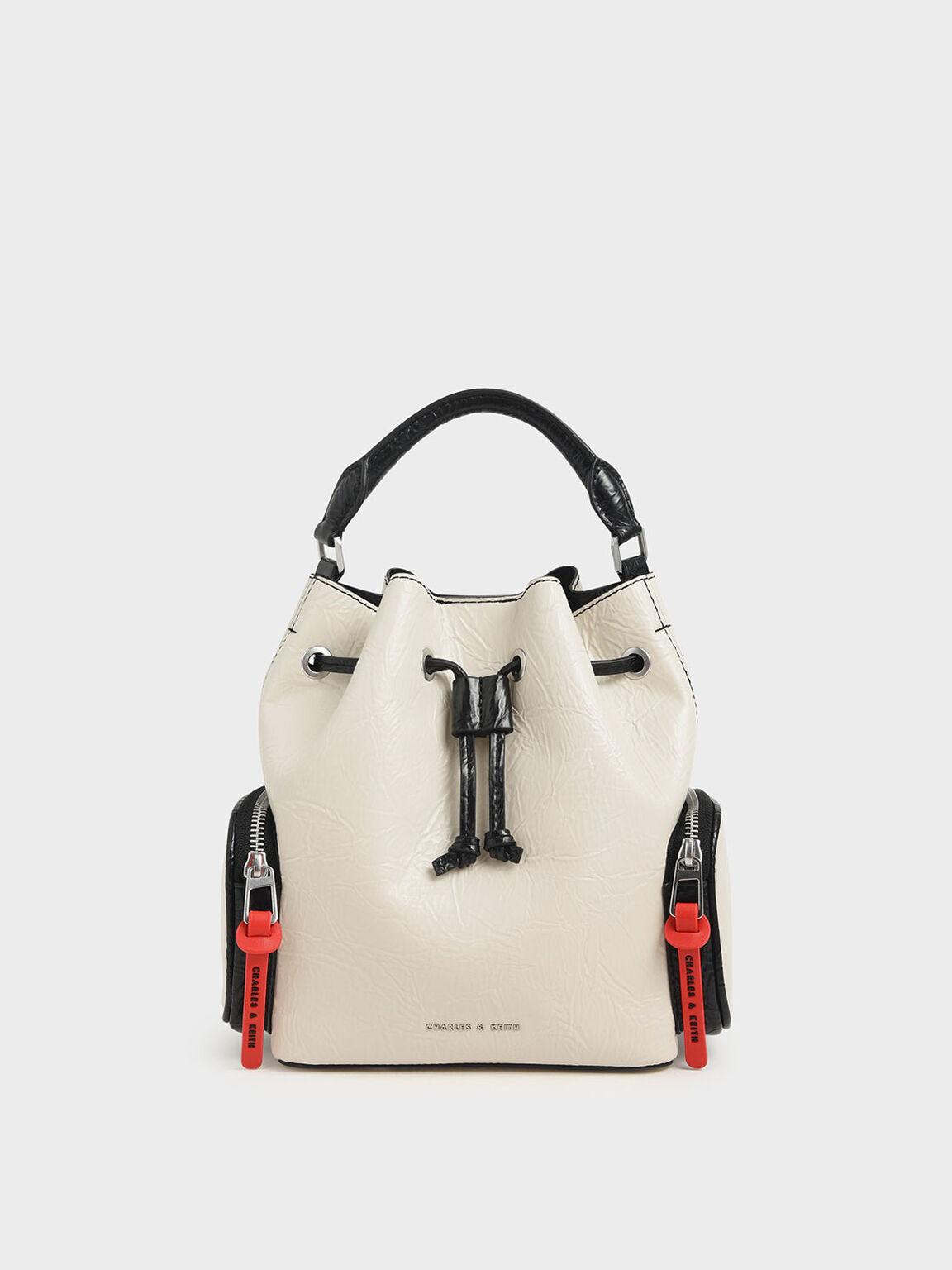 Wrinkled Effect Drawstring Bucket Bag, Cream, hi-res