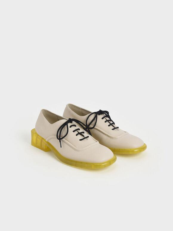 Fleur 真皮英倫厚底鞋, 石灰白, hi-res