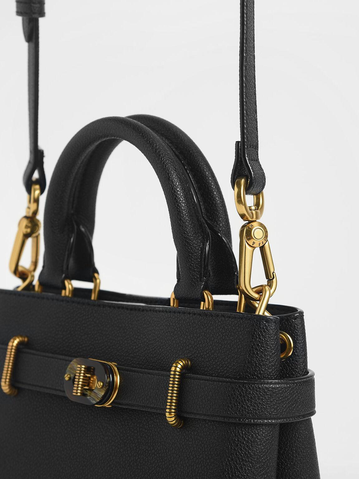 Turn-Lock Tote Bag, Black, hi-res