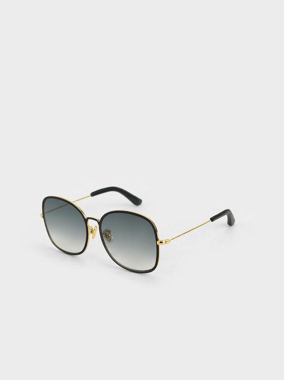 金屬方框墨鏡, 黑色, hi-res