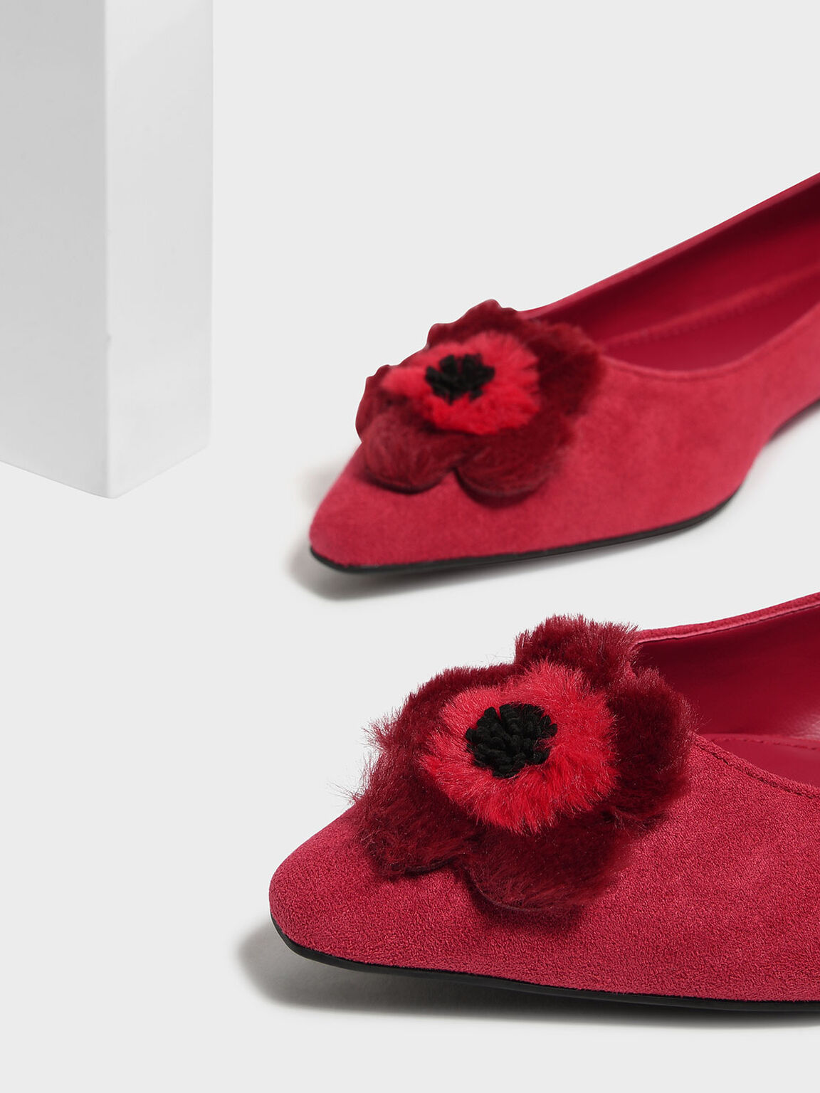 Furry Floral Detail Ballerinas, Red, hi-res