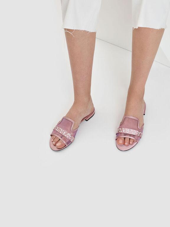 Embellished Mesh Sliders, Pink