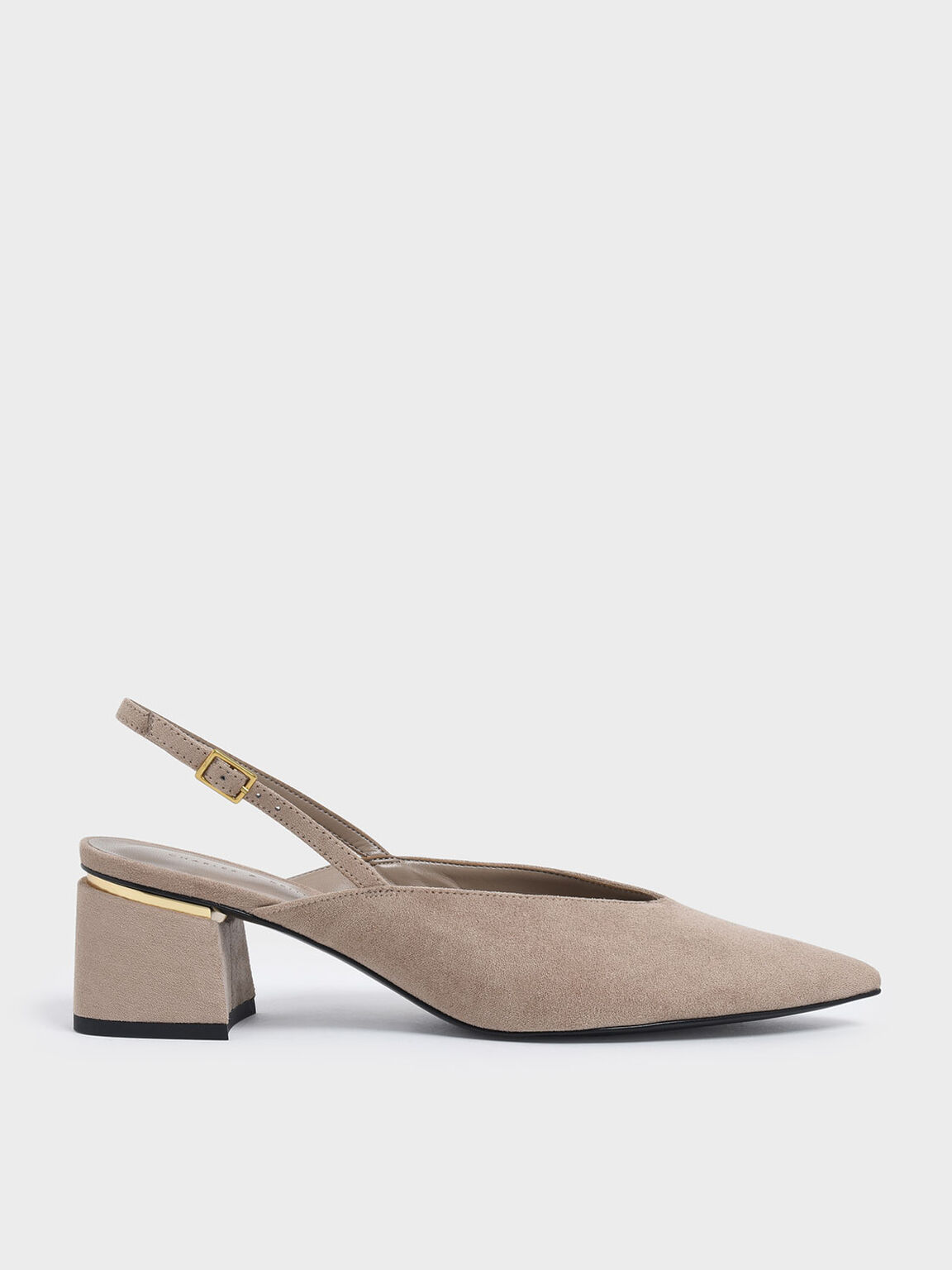V-Cut Block Heel Textured Slingback Pumps, Nude, hi-res