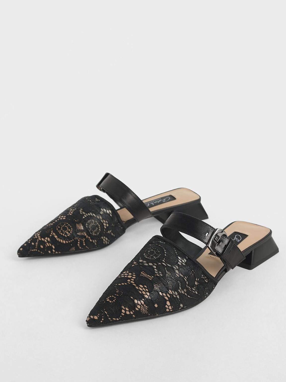 Leather Lace Pointed Mules, Black, hi-res