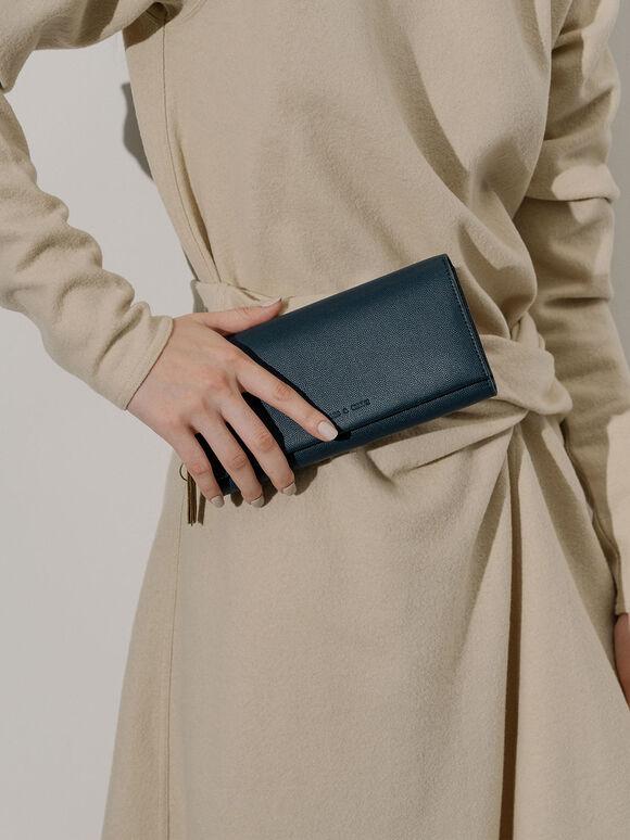 Tassel Detail Long Wallet, Blue, hi-res