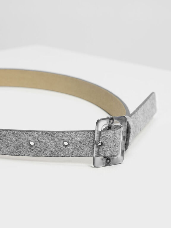 Oversized Acrylic Buckle Belt, Grey, hi-res