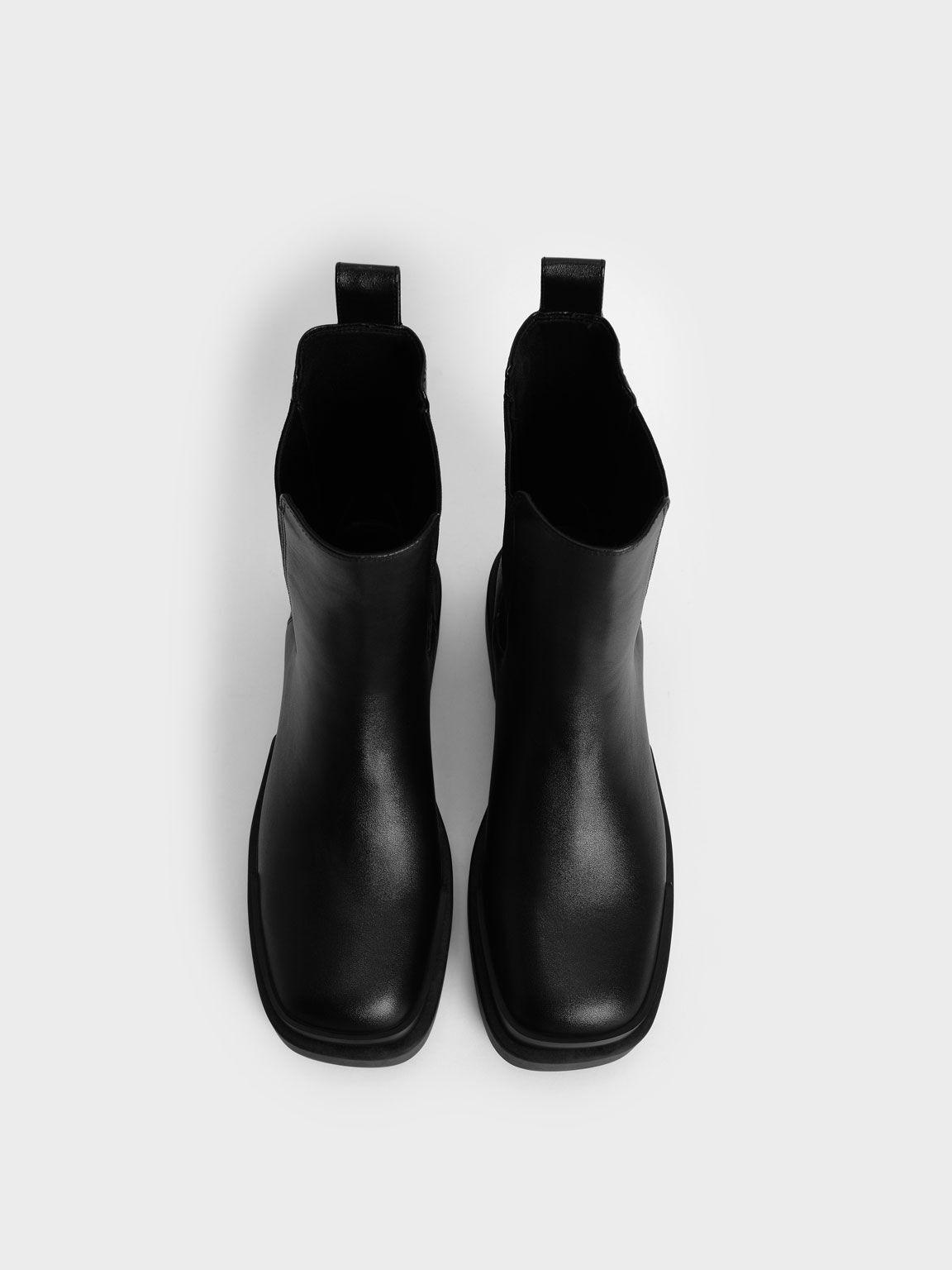 Platform Chelsea Boots, Black, hi-res