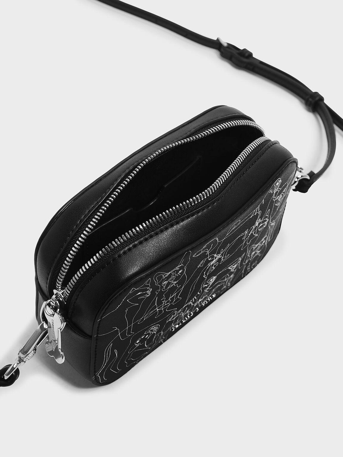 Printed Crossbody Bag, Black, hi-res