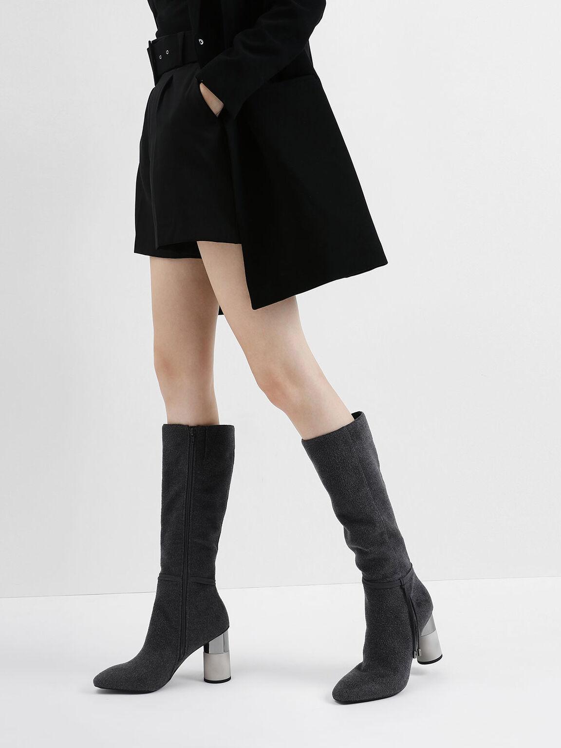 Concrete Heel Knee-High Boots, Dark Grey, hi-res