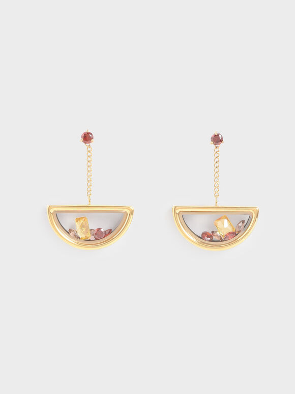 Semi-Circle Floating Locket Drop Earrings, Gold, hi-res