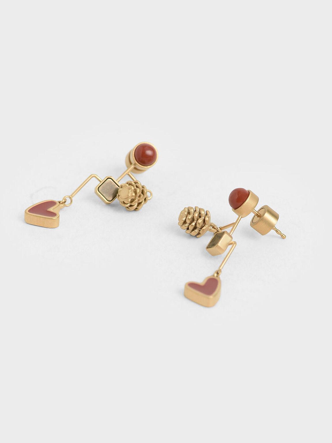 Red Jasper & Pyrite Gemstone Drop Earrings, Gold, hi-res