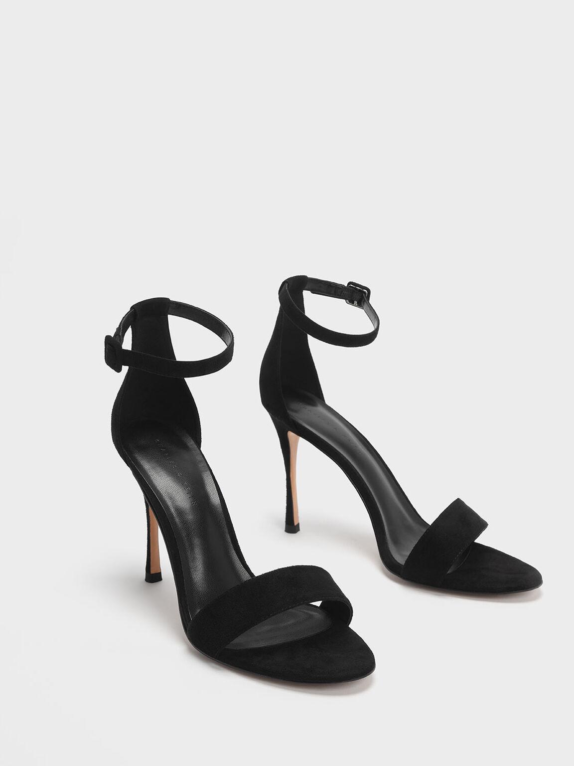 Textured Ankle Strap Stiletto Heels, Black, hi-res
