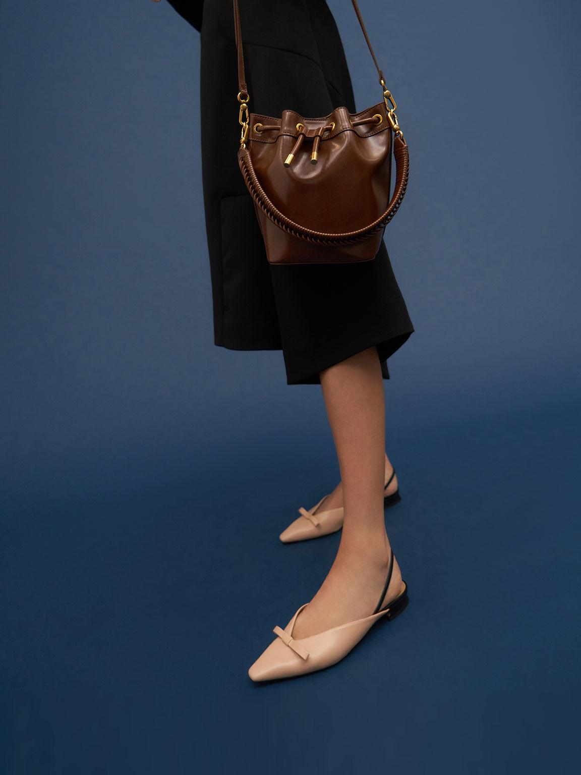 蝴蝶結尖頭平底鞋, 膚色, hi-res