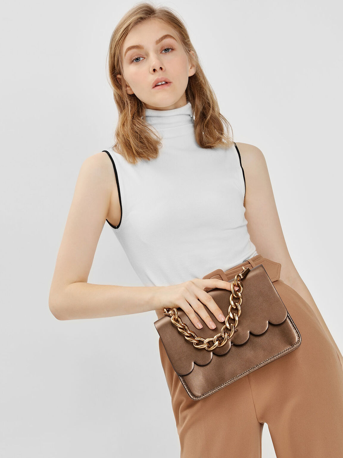 Scallop Edge Front Flap Bag, Bronze, hi-res