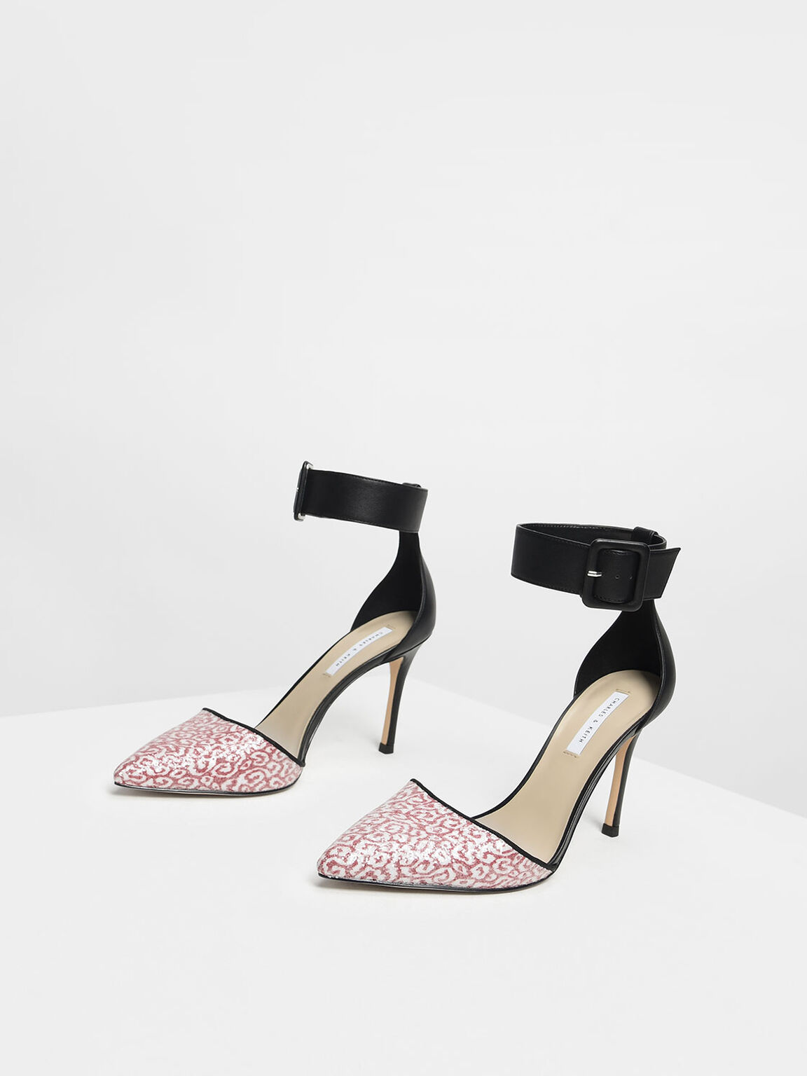 Glitter Fabric Ankle Cuff Heels, Red, hi-res