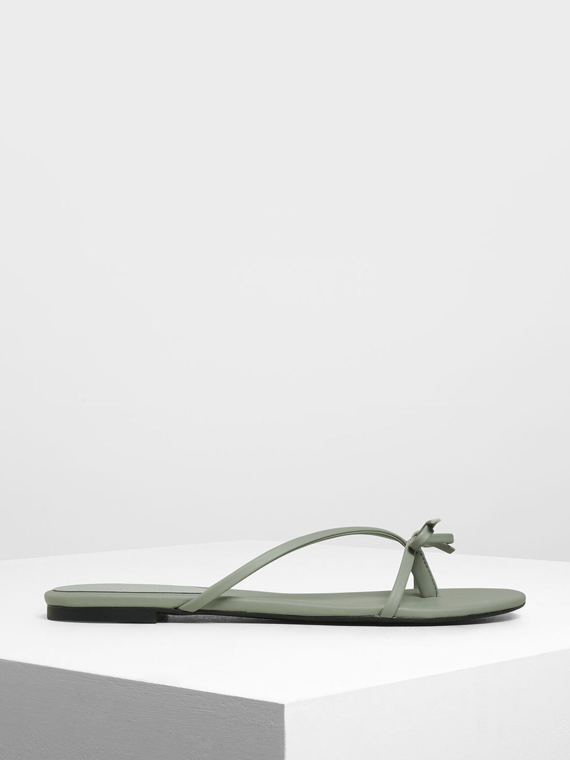 Strappy Bow Thong Sandals, Sage Green, hi-res