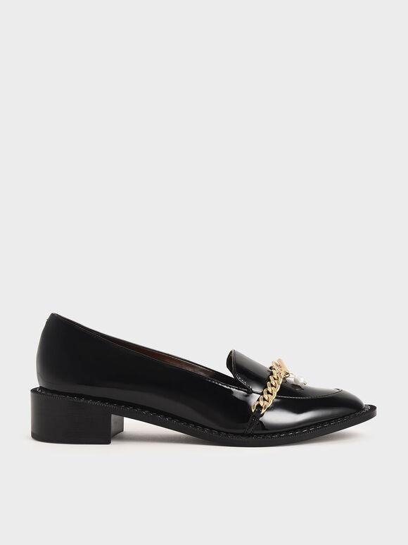 金屬鍊條樂福鞋, 黑色, hi-res
