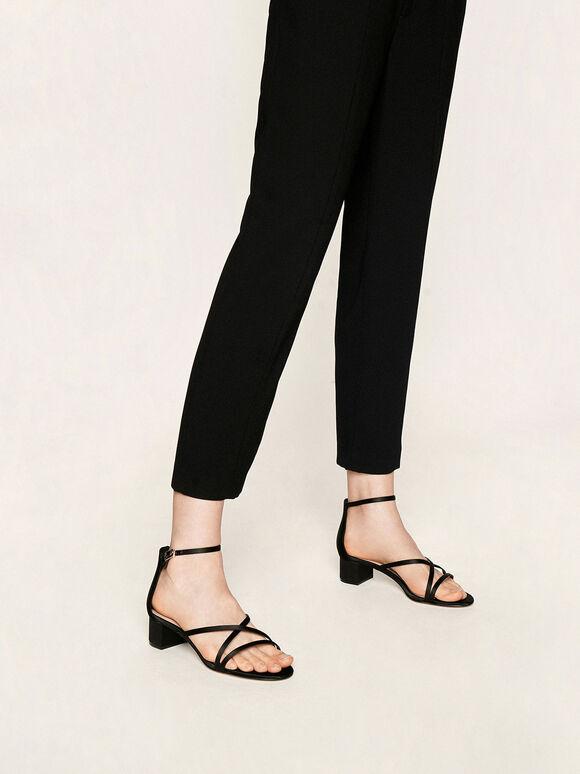 Satin Strappy Heeled Sandals, Black, hi-res