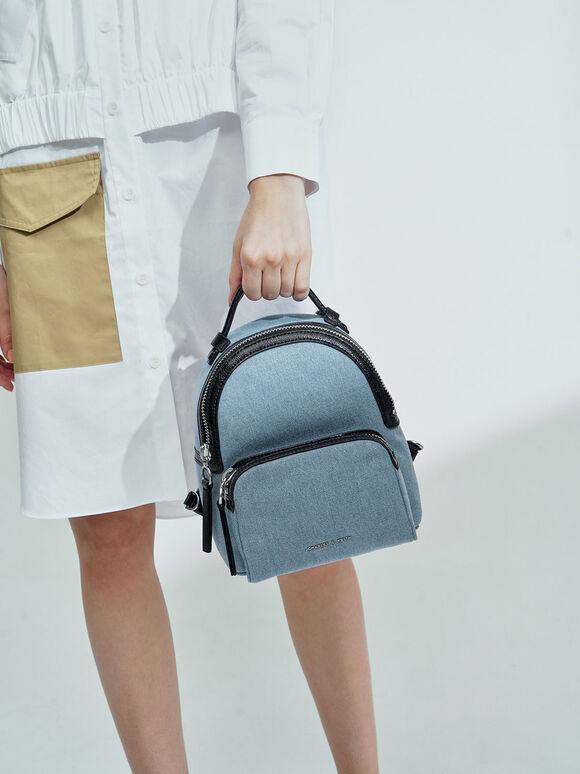 Textured Double Zip Backpack, Denim Blue, hi-res