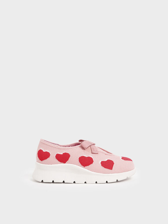 Girls' Heart Print Knitted Sneakers, Nude, hi-res
