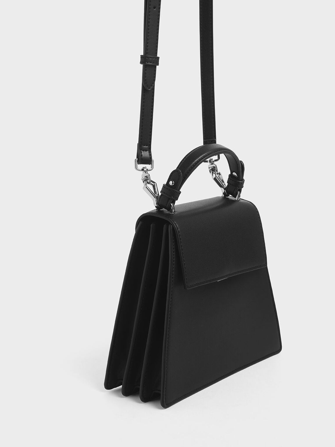 Angular Top Handle Bag, Black, hi-res
